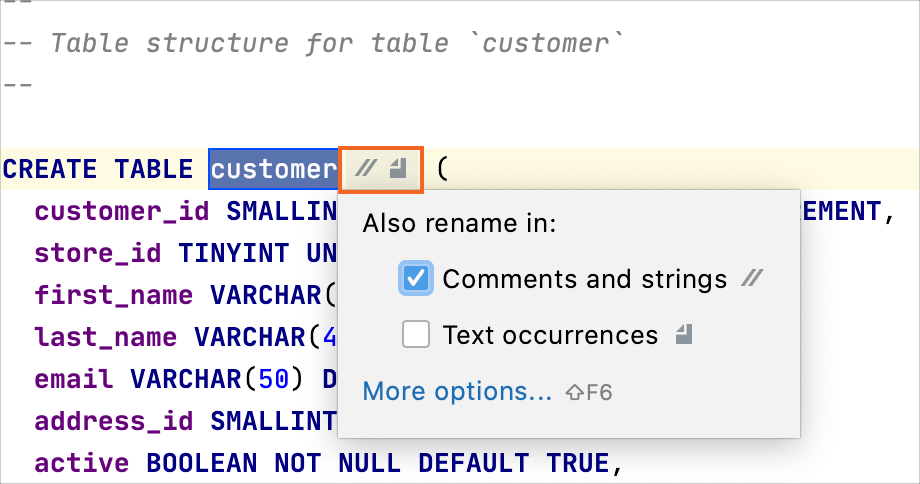 rename the element inline