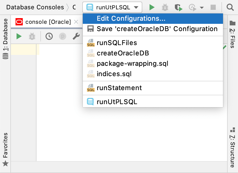 The Edit Run Configuration window