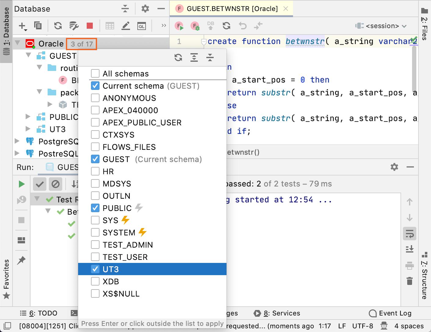 Enable the utPLSQL schema
