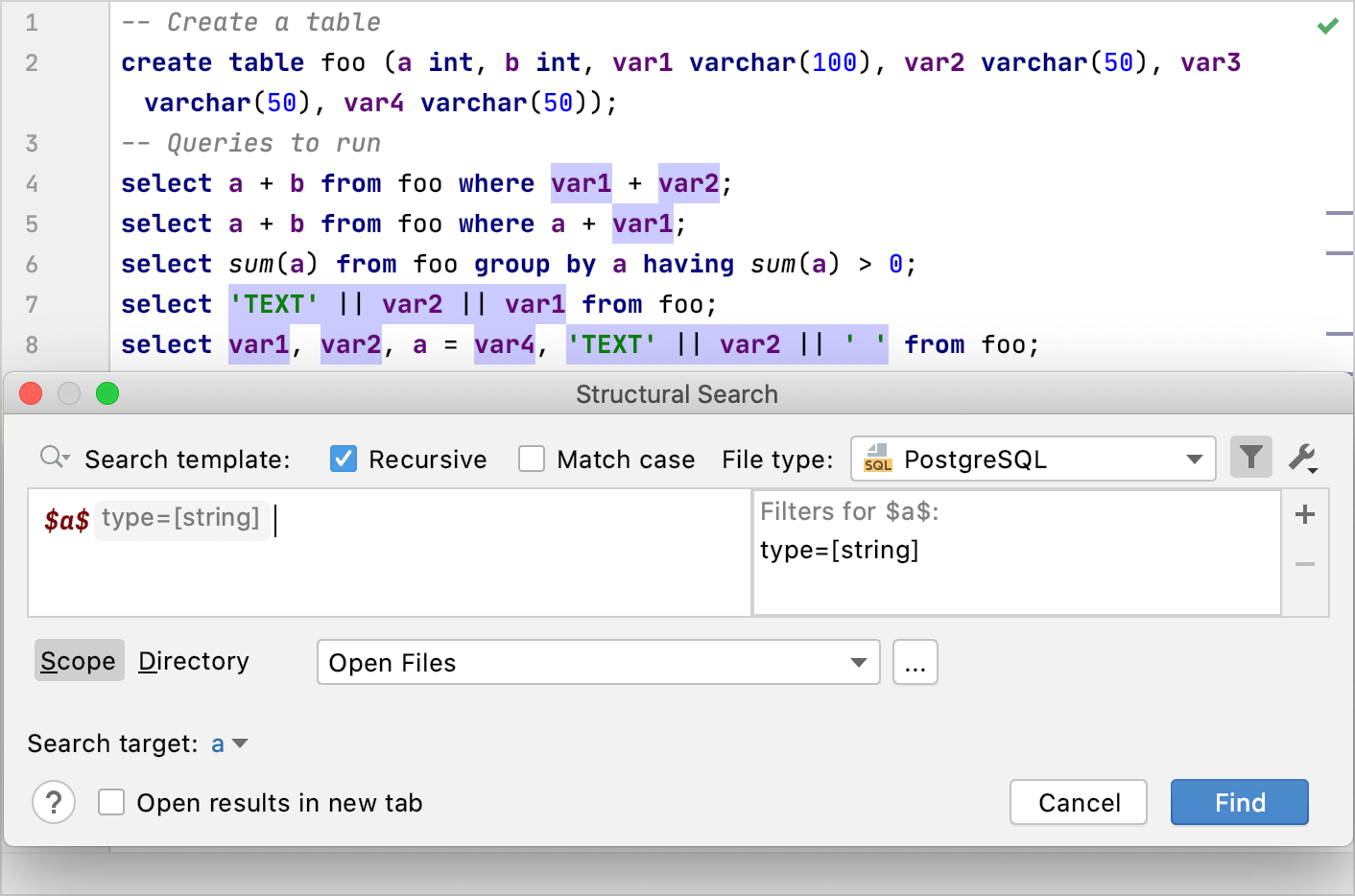 Structural Search with filters