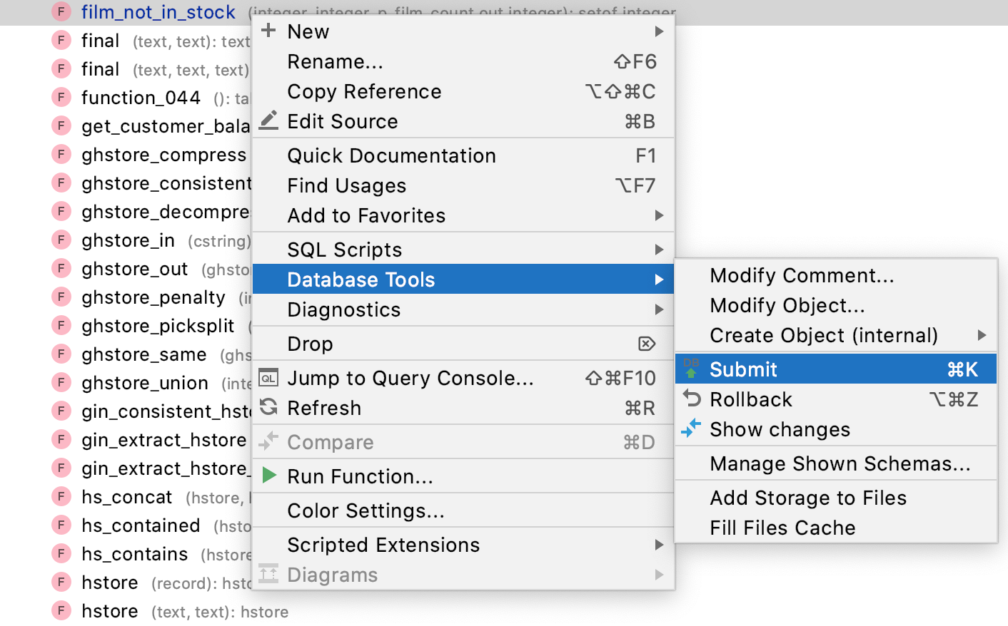 Submit, Rollback, and Show Changes in the context menu