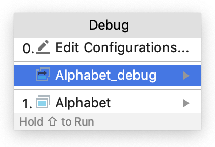 The Debug popup