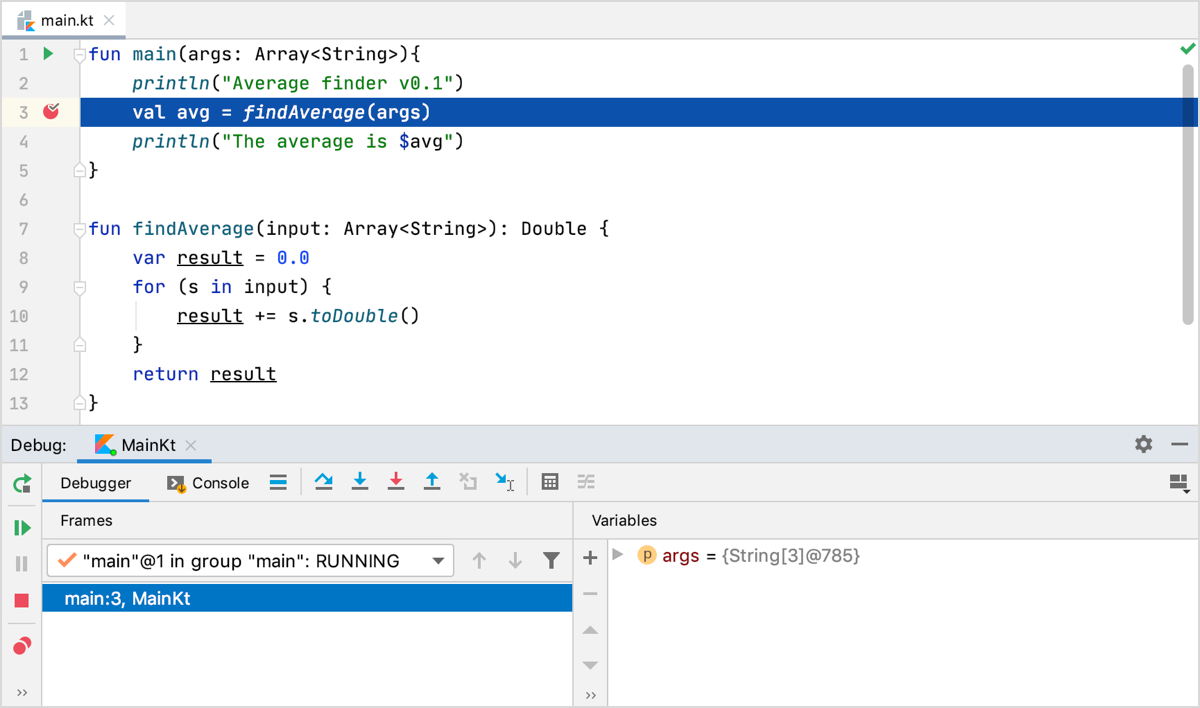 Debug tool window appears. The line with the breakpoint is highlighted