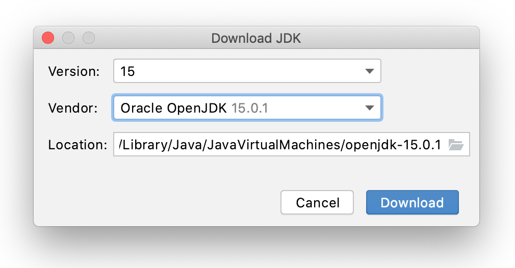 Downloading a JDK when creating a project