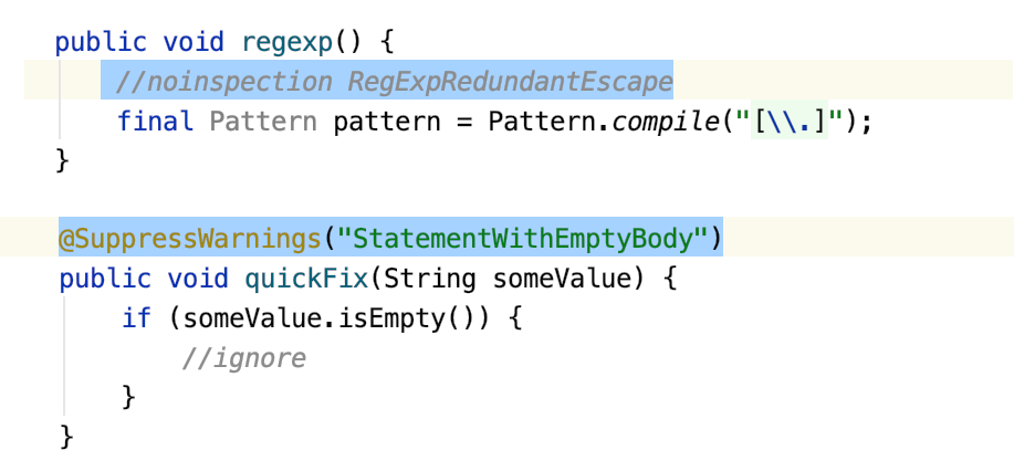 A comment and annotation that indicate suppressed inspections in Java code