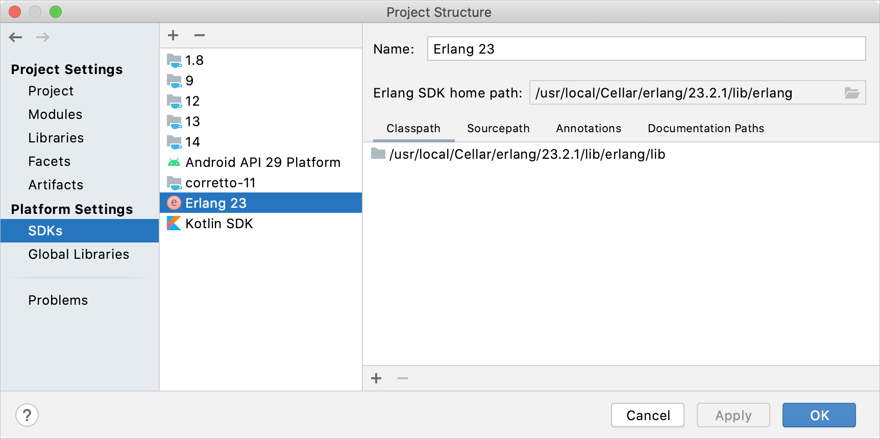Configuring the Erlang SDK