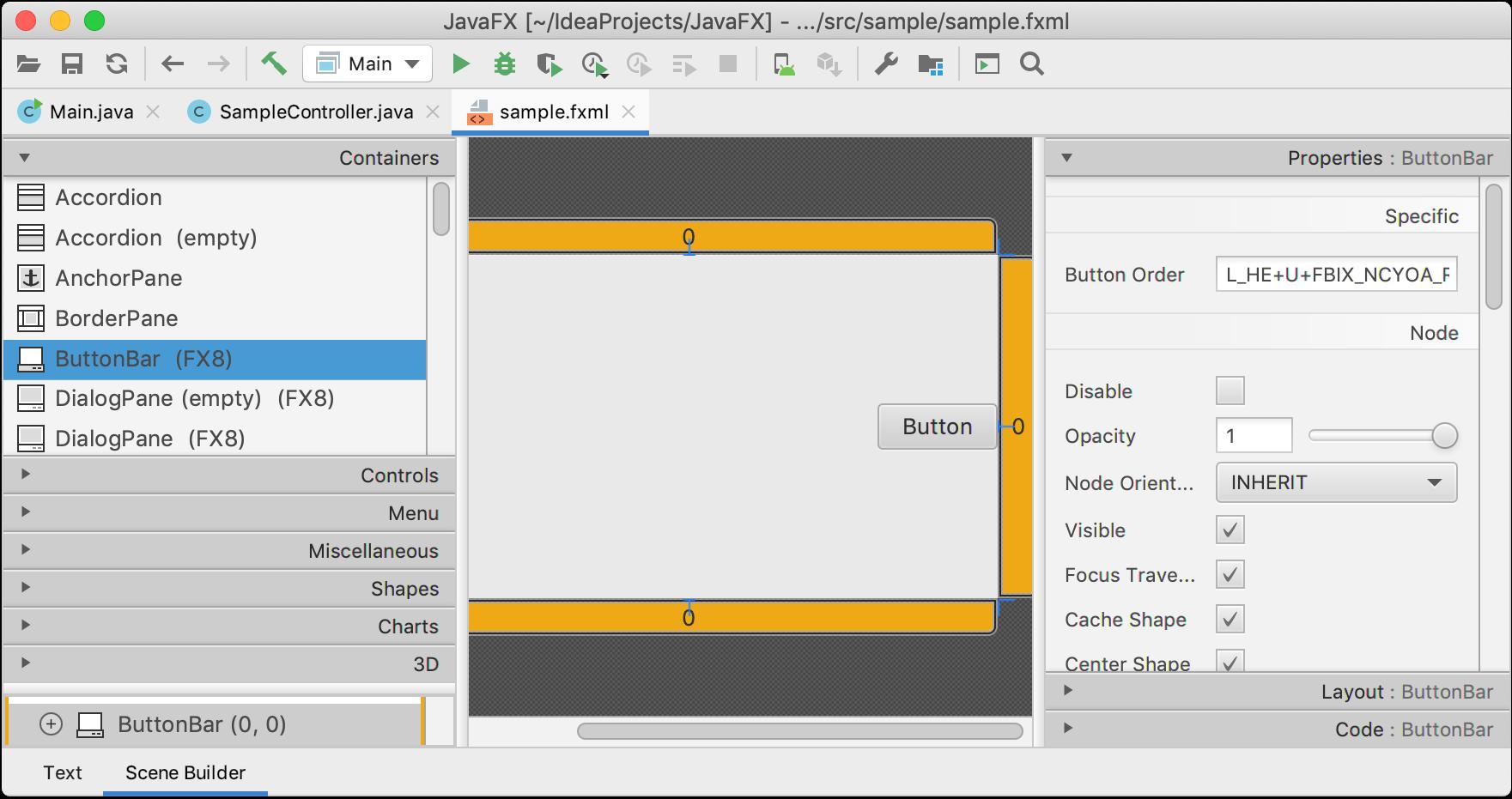 An .fxml file opened in Scene Builder in the IDE