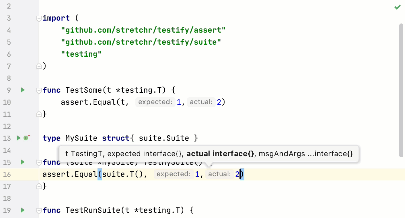 Code completion: extended support for the Testify framework