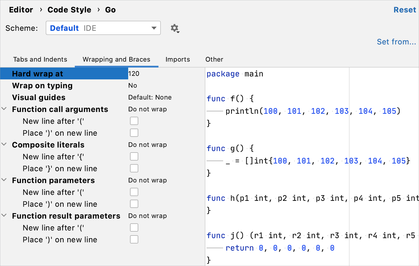 Code formatting: wrapping for call arguments, function parameters, and composite literal elements