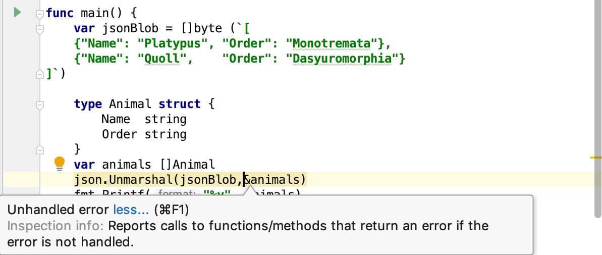 The Unhandled Error code inspection