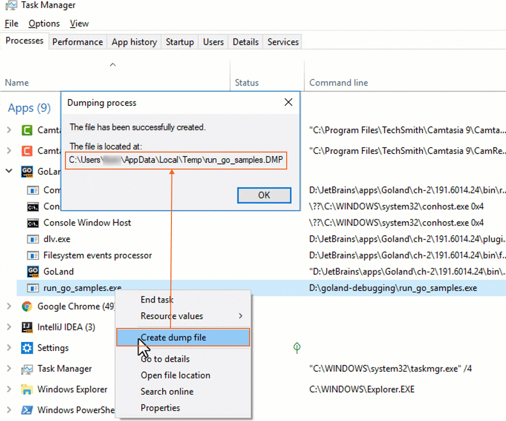 Create the minidump file on Windows