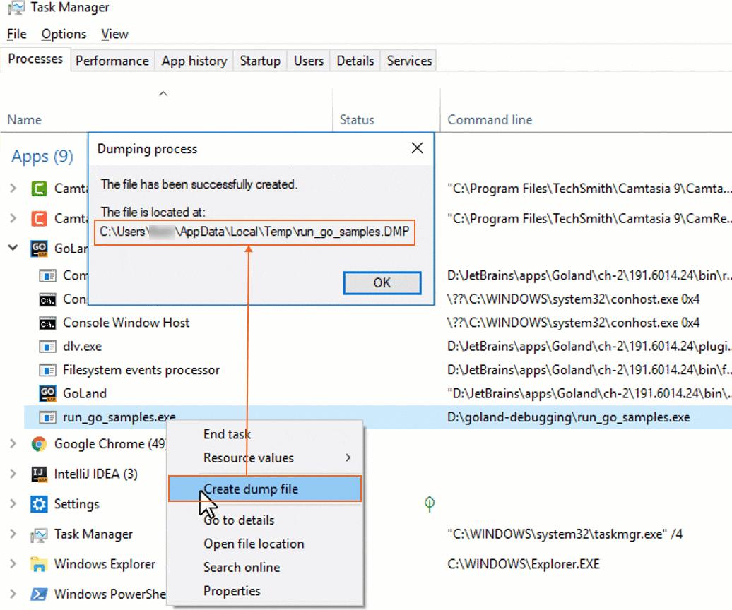 Create the minidump file on Windows