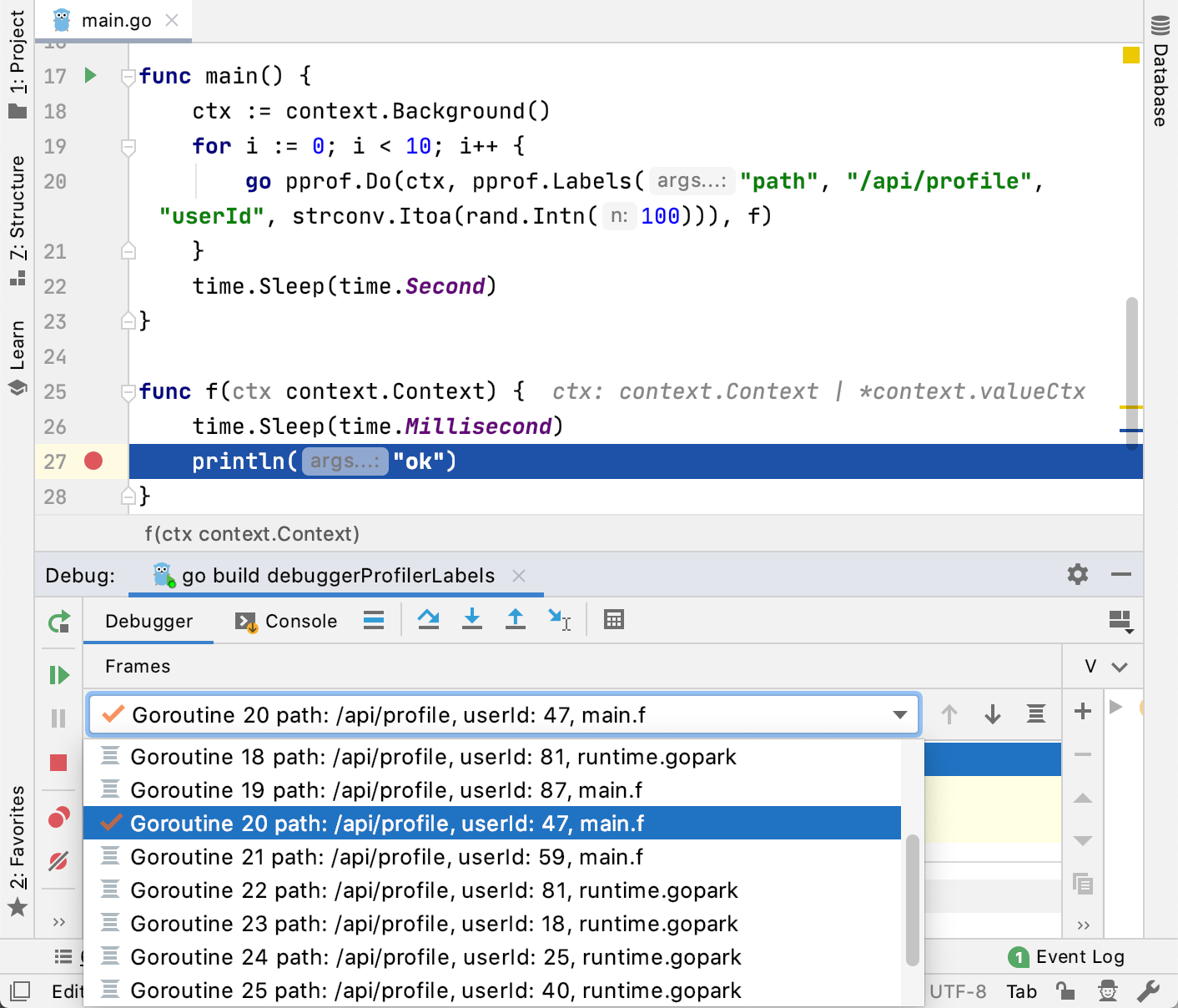 Go Debugger: profiler labels are supported