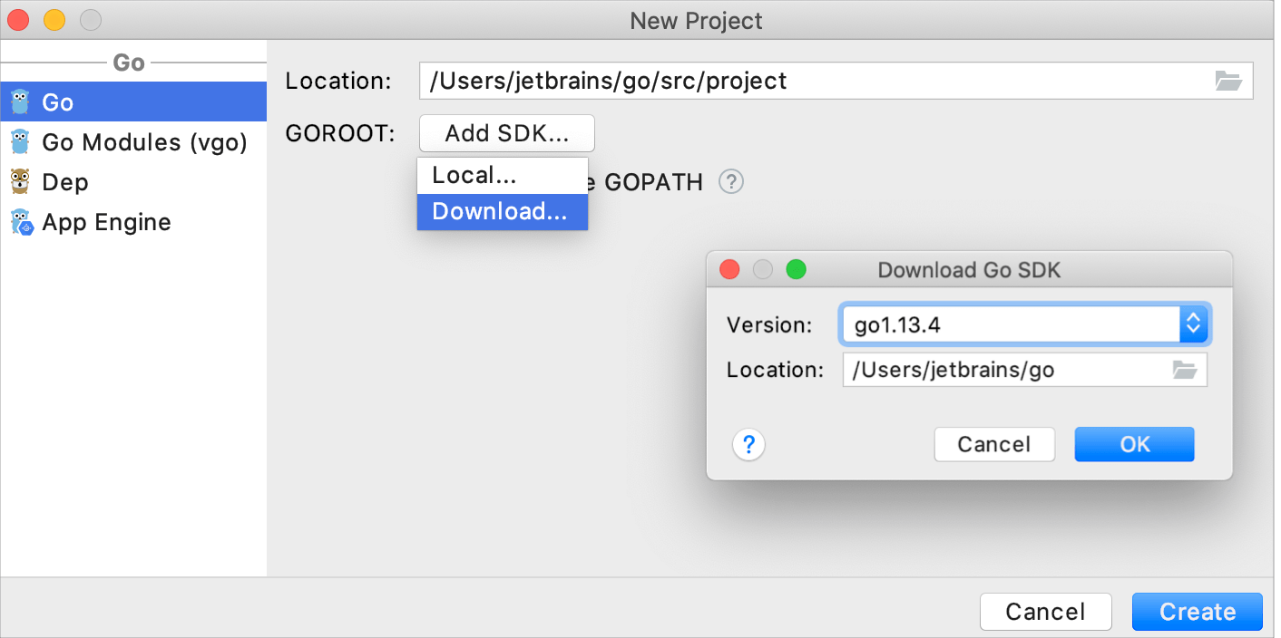 Download the Go SDK
