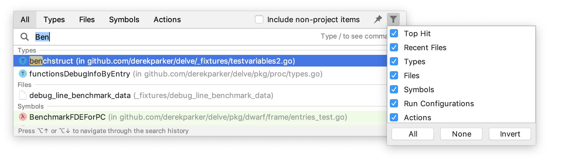 Exclude file types from search
