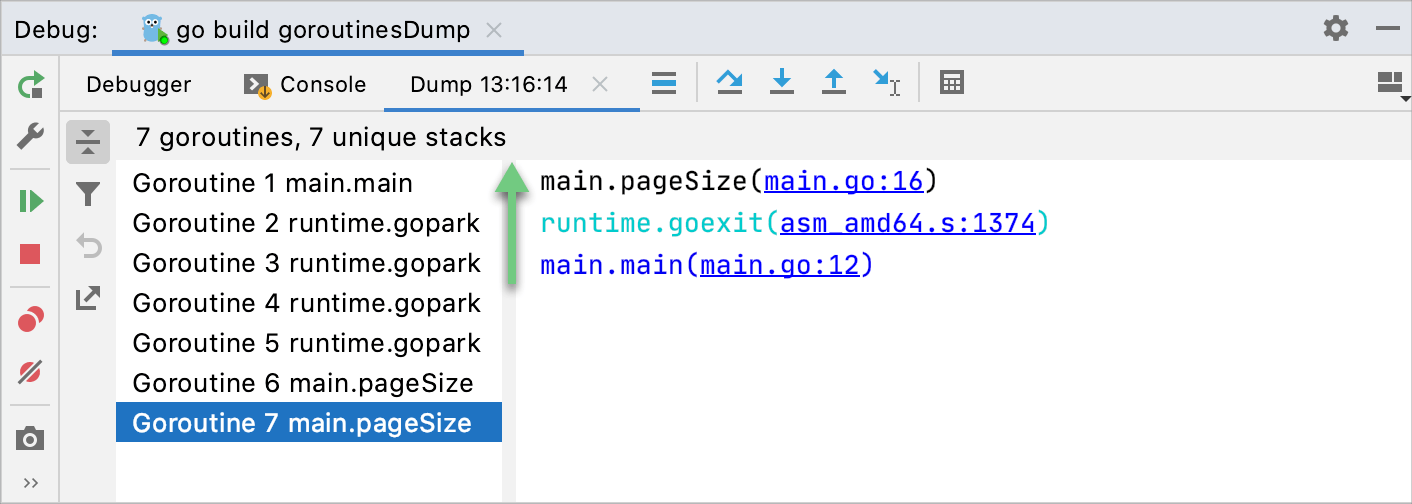 Execution stack of Goroutine 7 main.pageSize