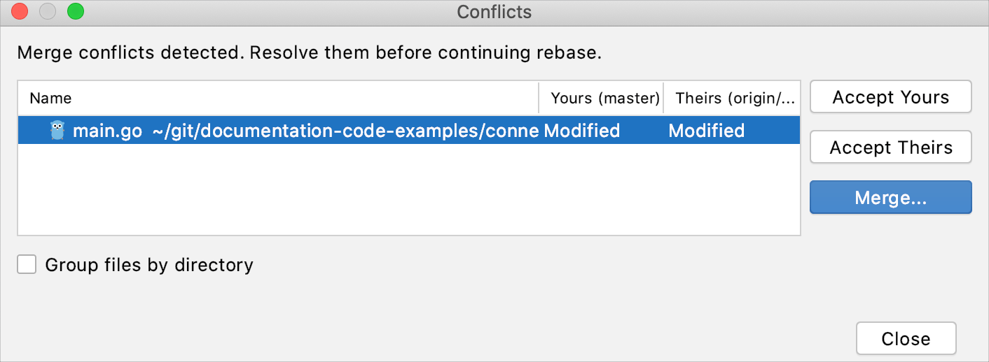 Files Merged with Conflicts dialog