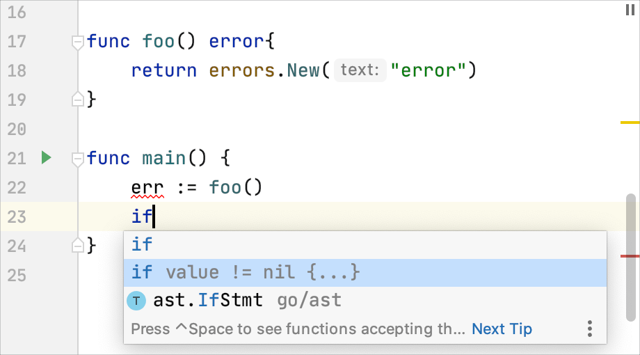 Code completion: handling errors with 'if err != nil { ... }