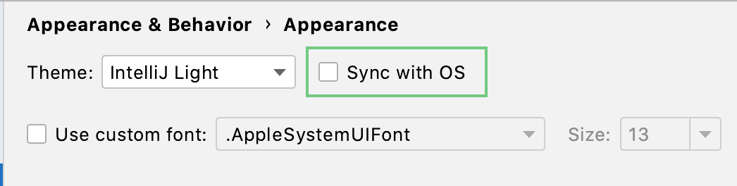 IDE theme is synchronized with your OS preferences
