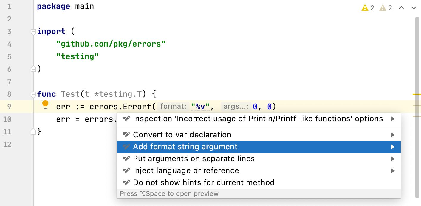 incorrect usage of Println/Printf