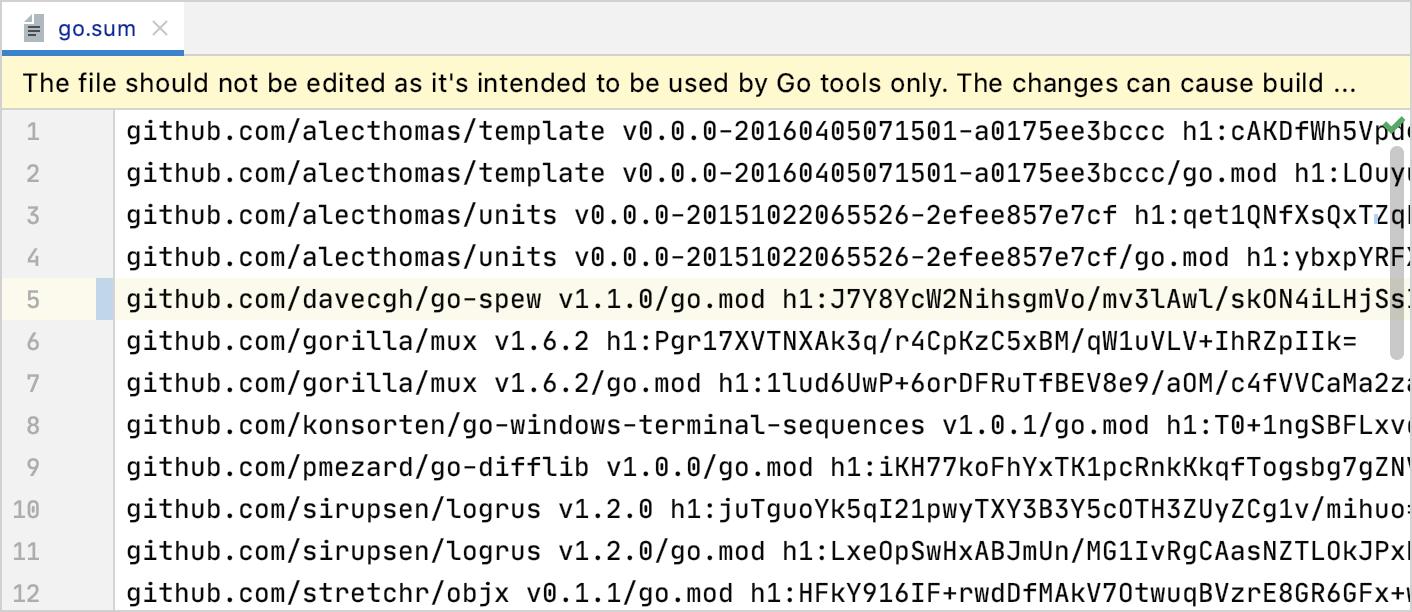 Notification when you edit go.sum