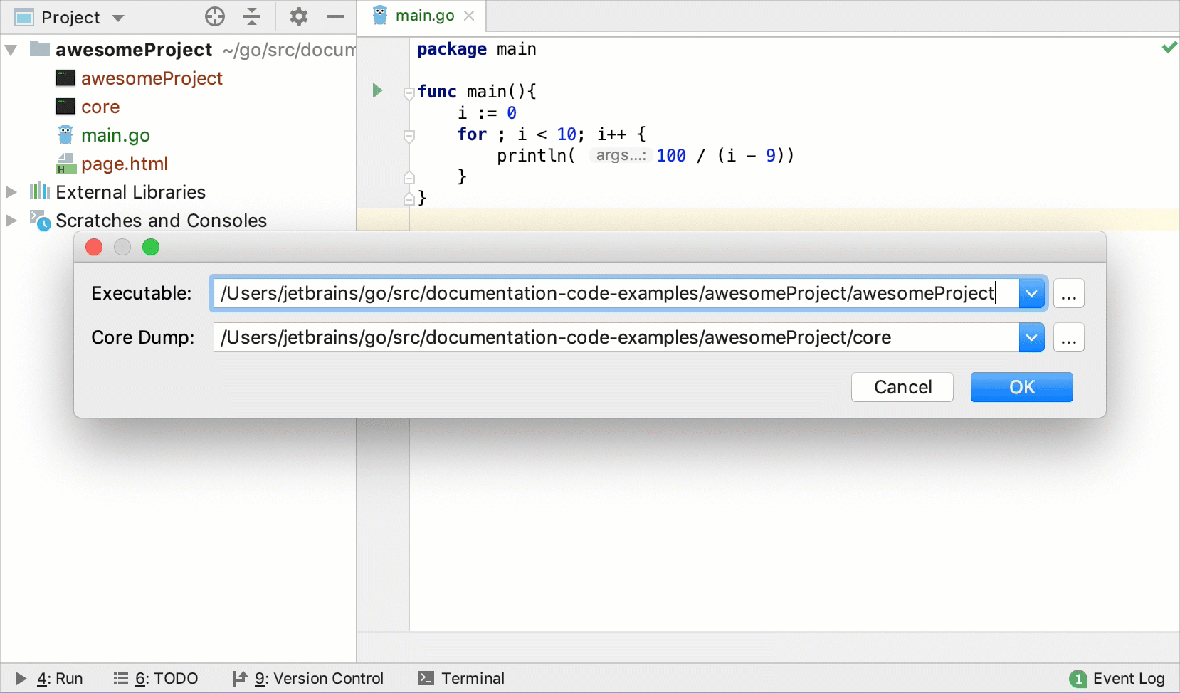Open the Go core dump in IntelliJ IDEA