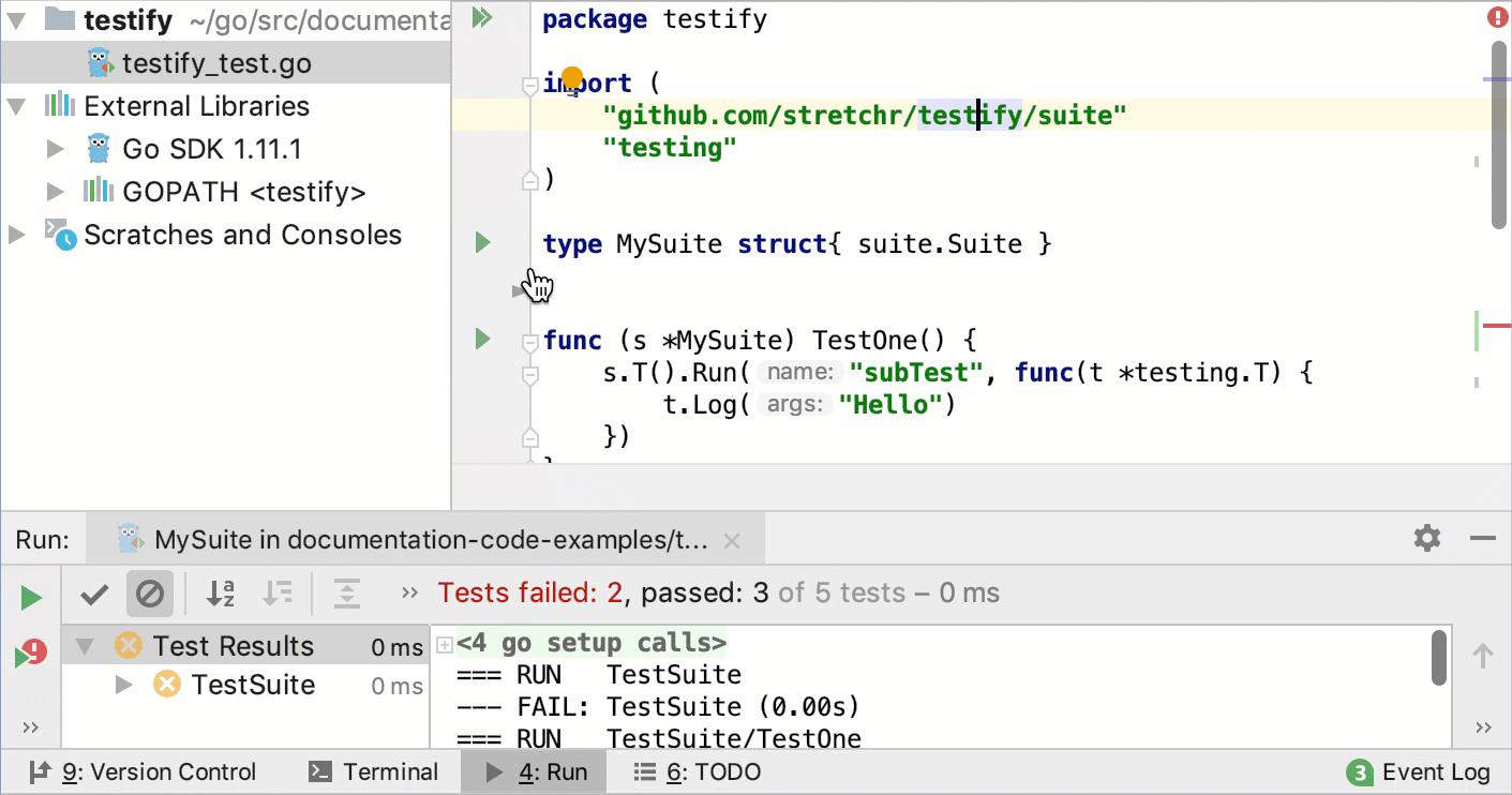 Run tests with Testify
