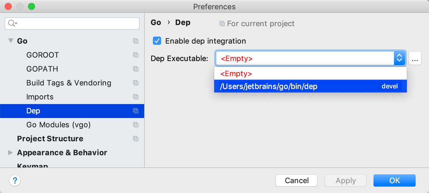 Specify the Dep executable for an existing Dep project