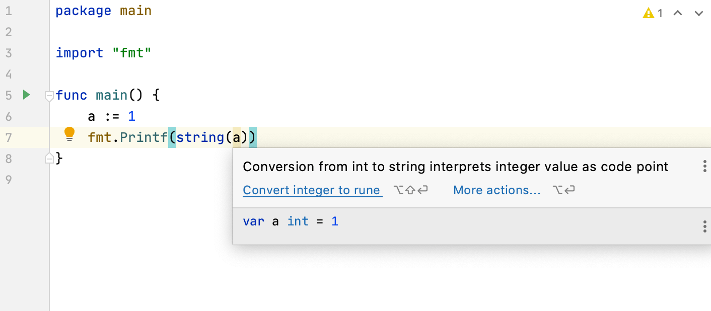 Inspection for the string int conversion