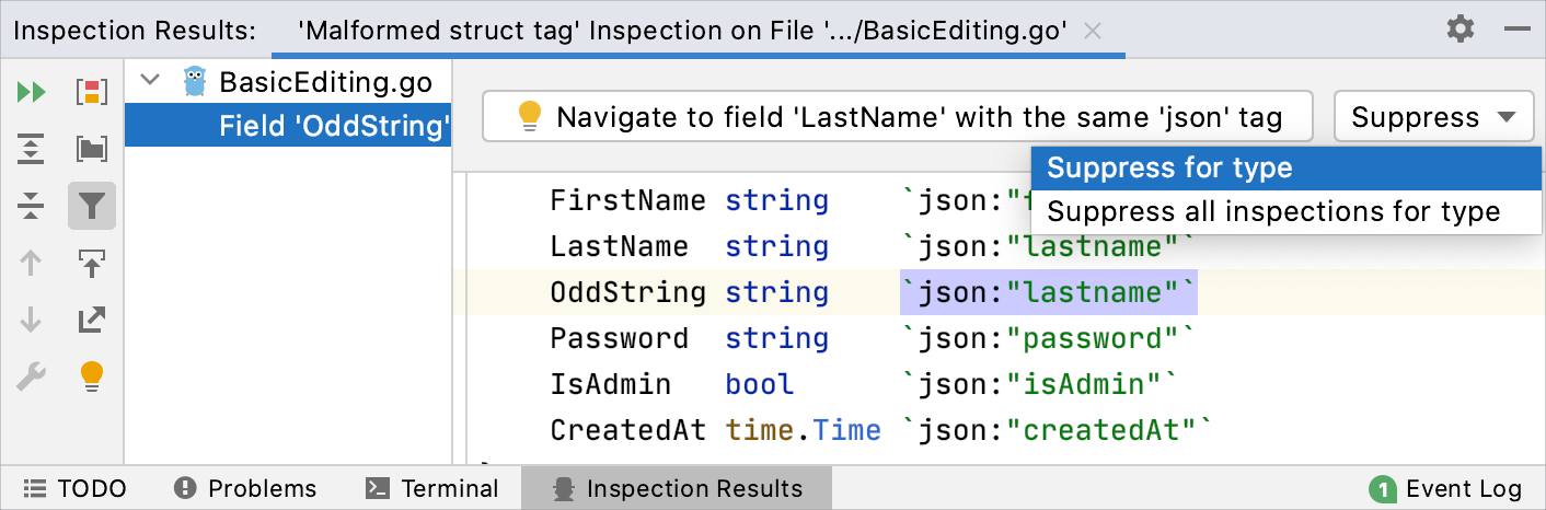 Suppressing inspection in the Inspection Results tool window