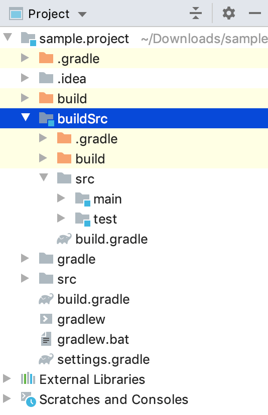 Project tool window: buildSrc module