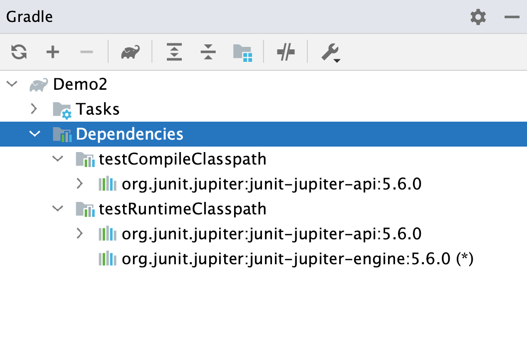 Gradle tool window: dependencies