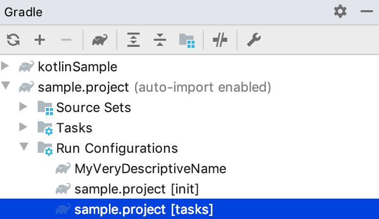 Gradle tool window: Run Configurations