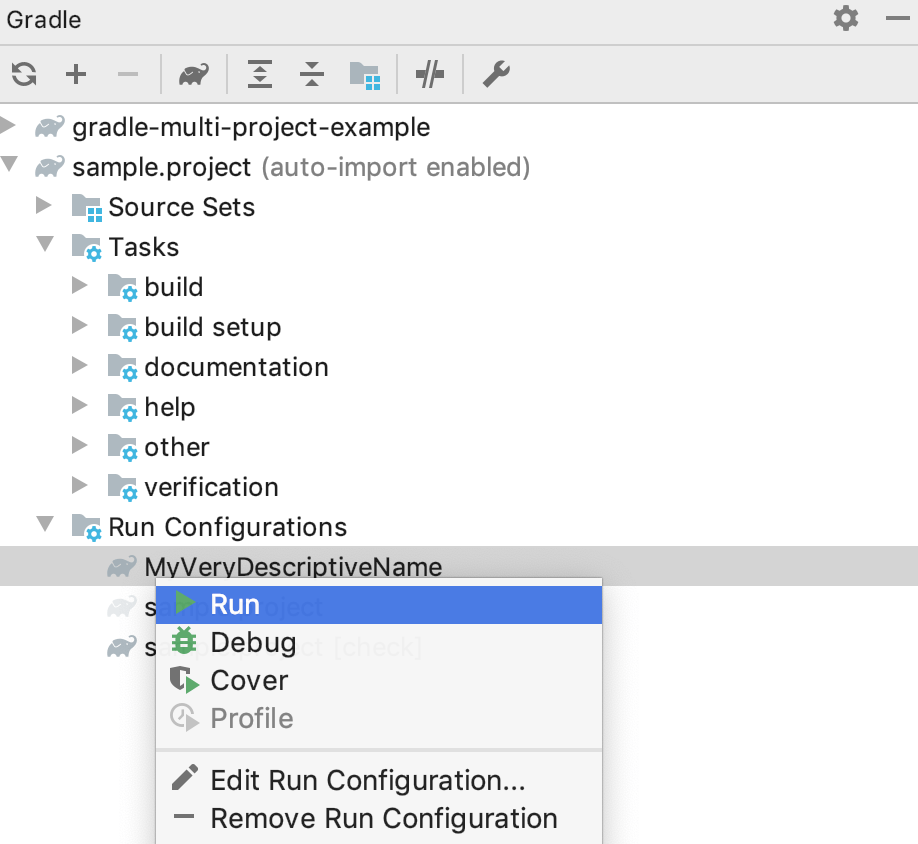 Gradle tool window: run configuration