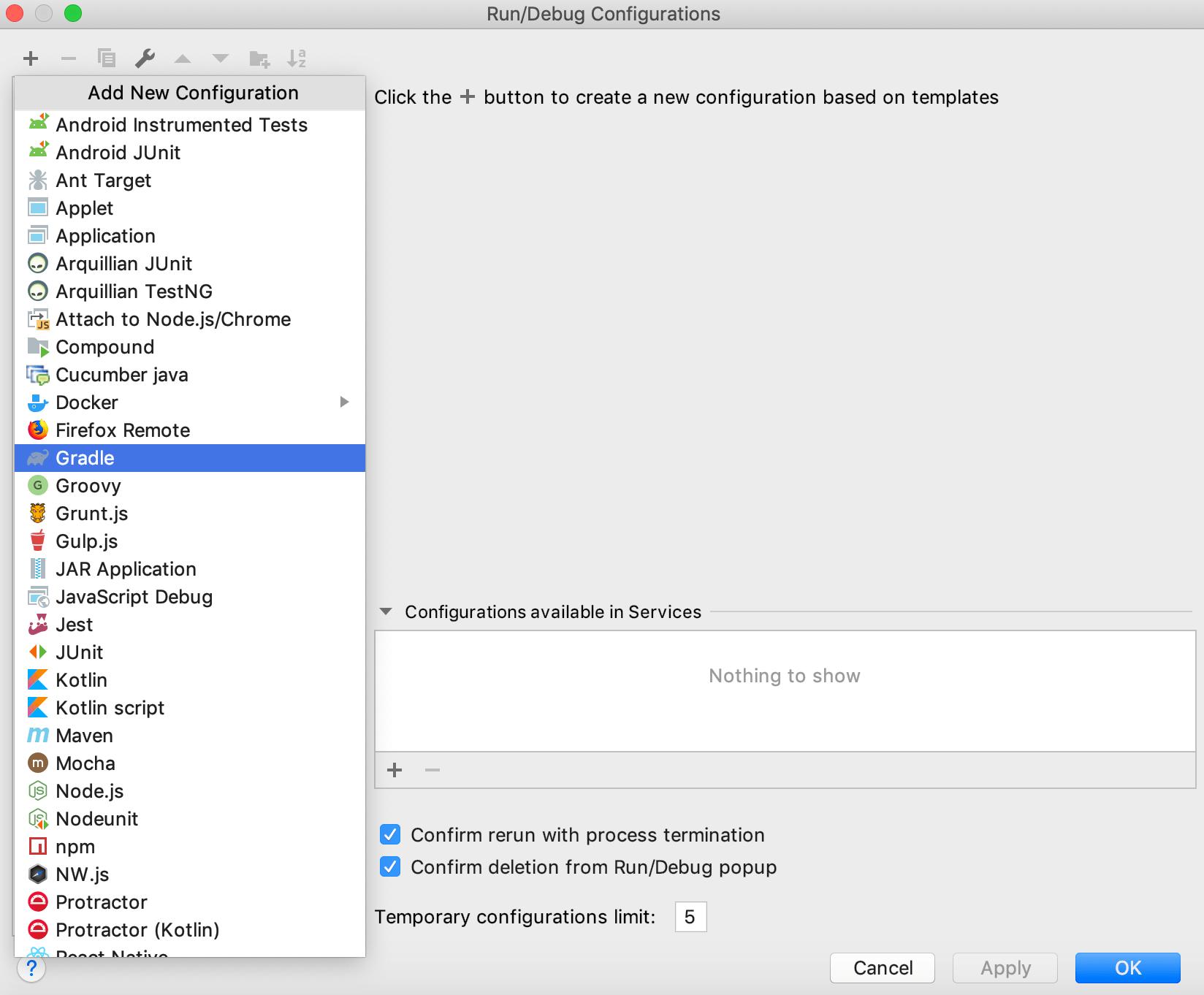 Add new Gradle run/debug configuration