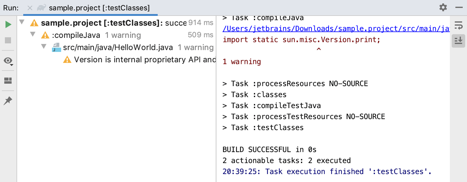 Run tool window: Gradle task