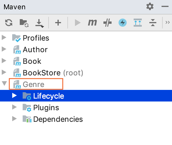Maven tool window: Ignored projects