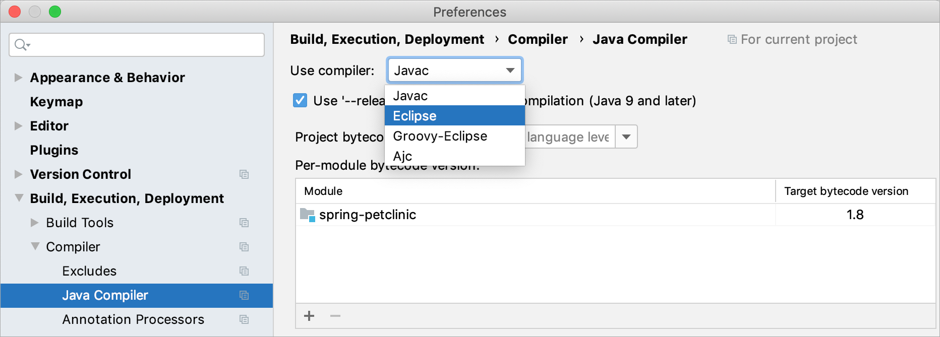 Configuring the Eclipse compiler