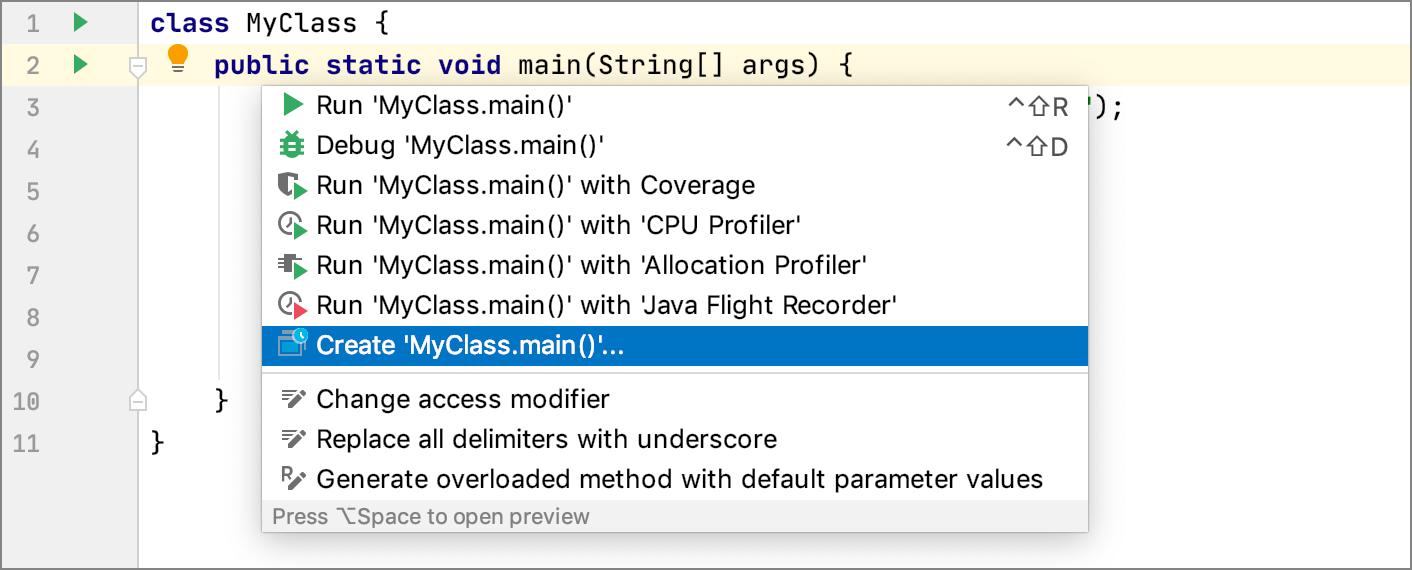 Create run configuration for a class