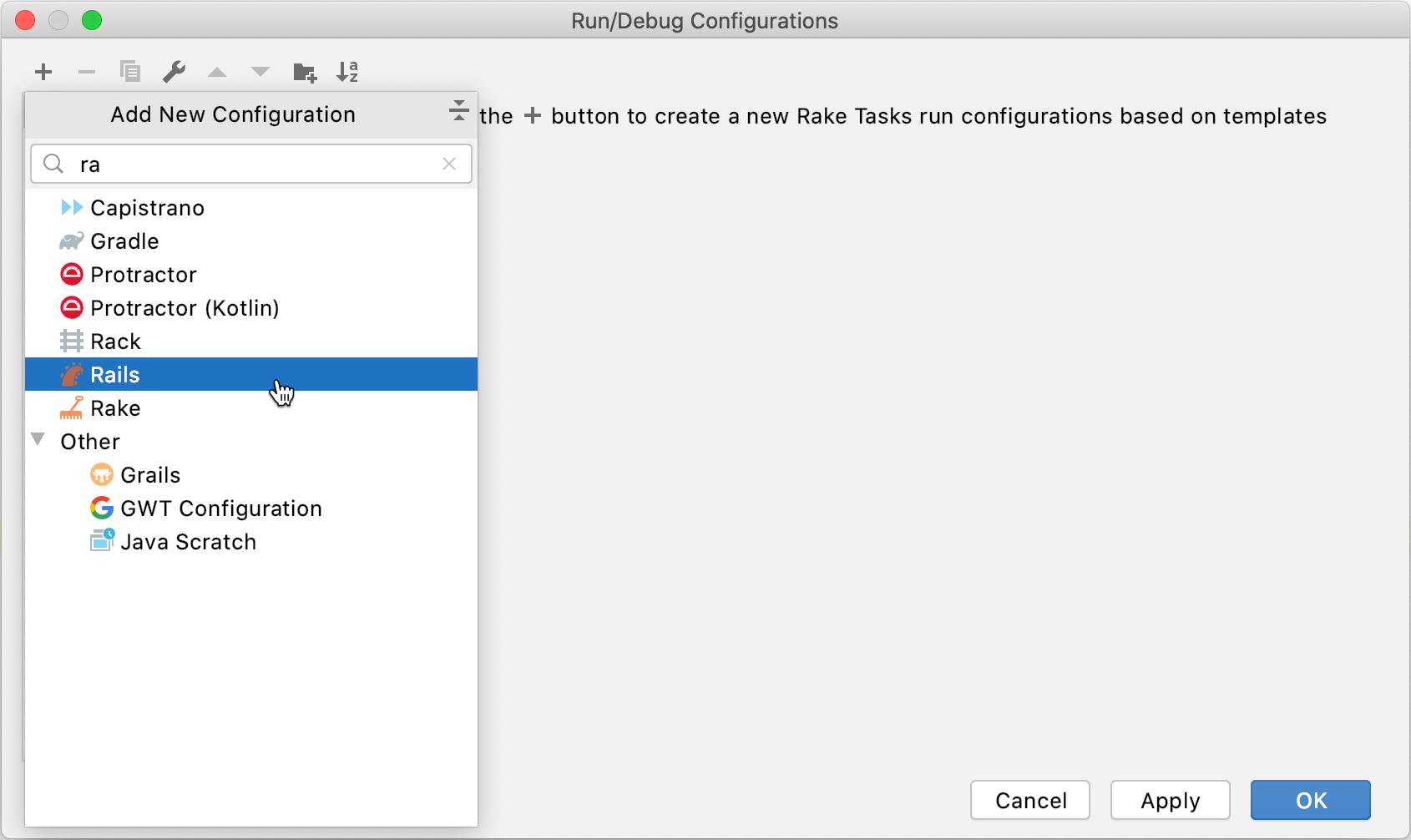 Run/Debug Configurations dialog