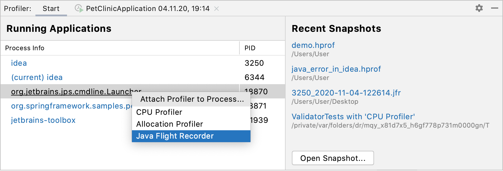 Attaching Java Flight Recorder to a process