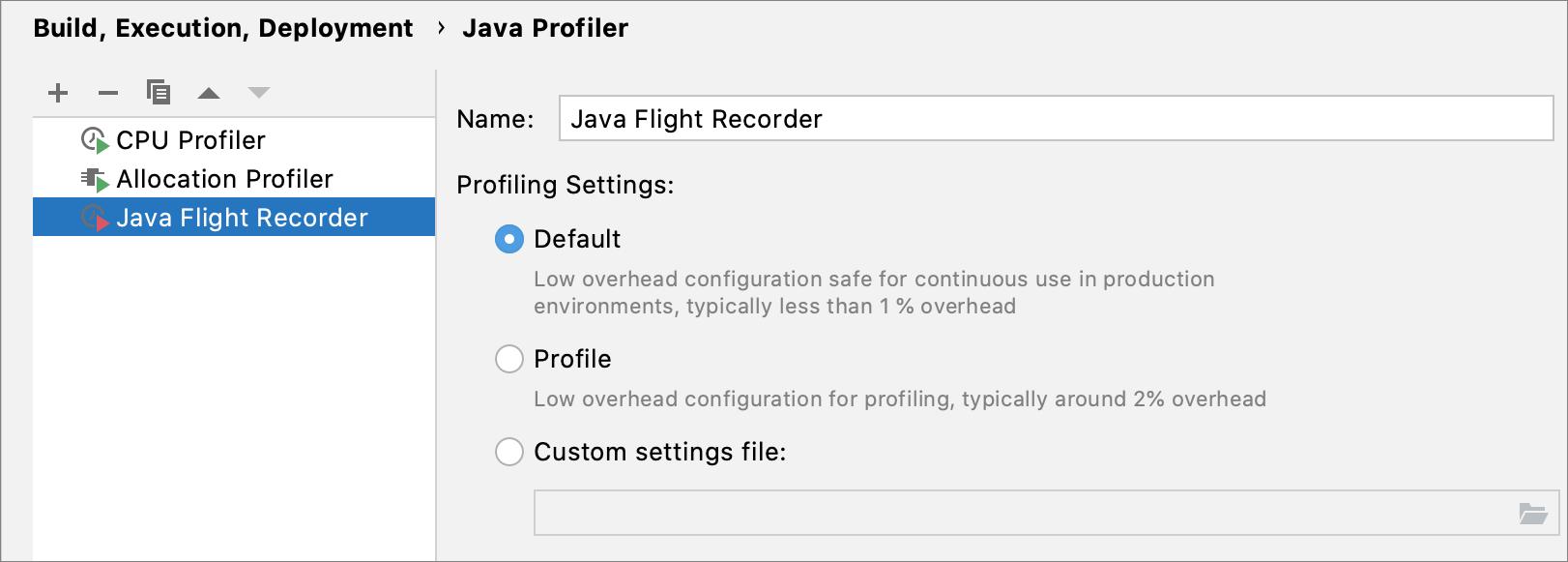 JFR configurations