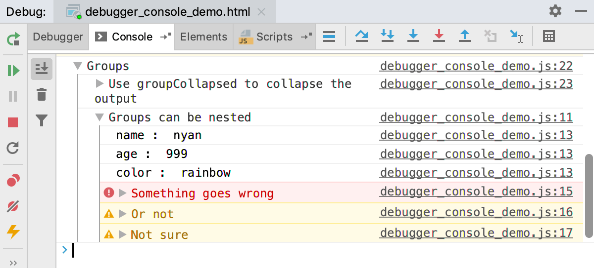 Node.js interactive debugger console: log messages grouped