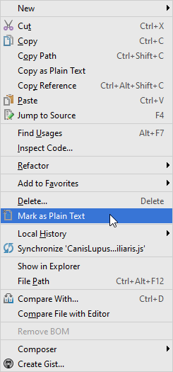 Mark as plain text