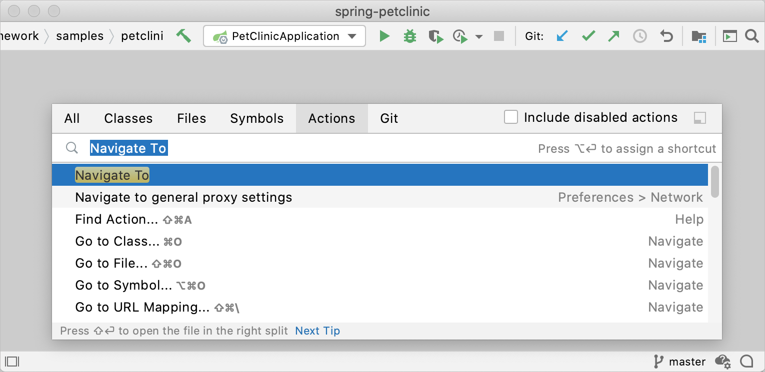 The Find Action dialog