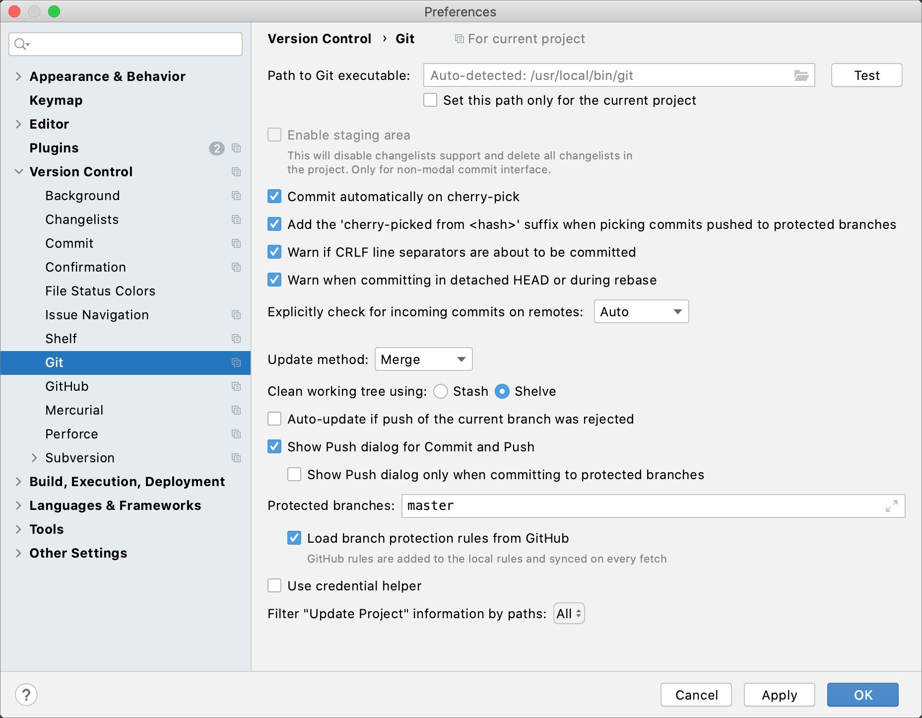 Editing VCS settings