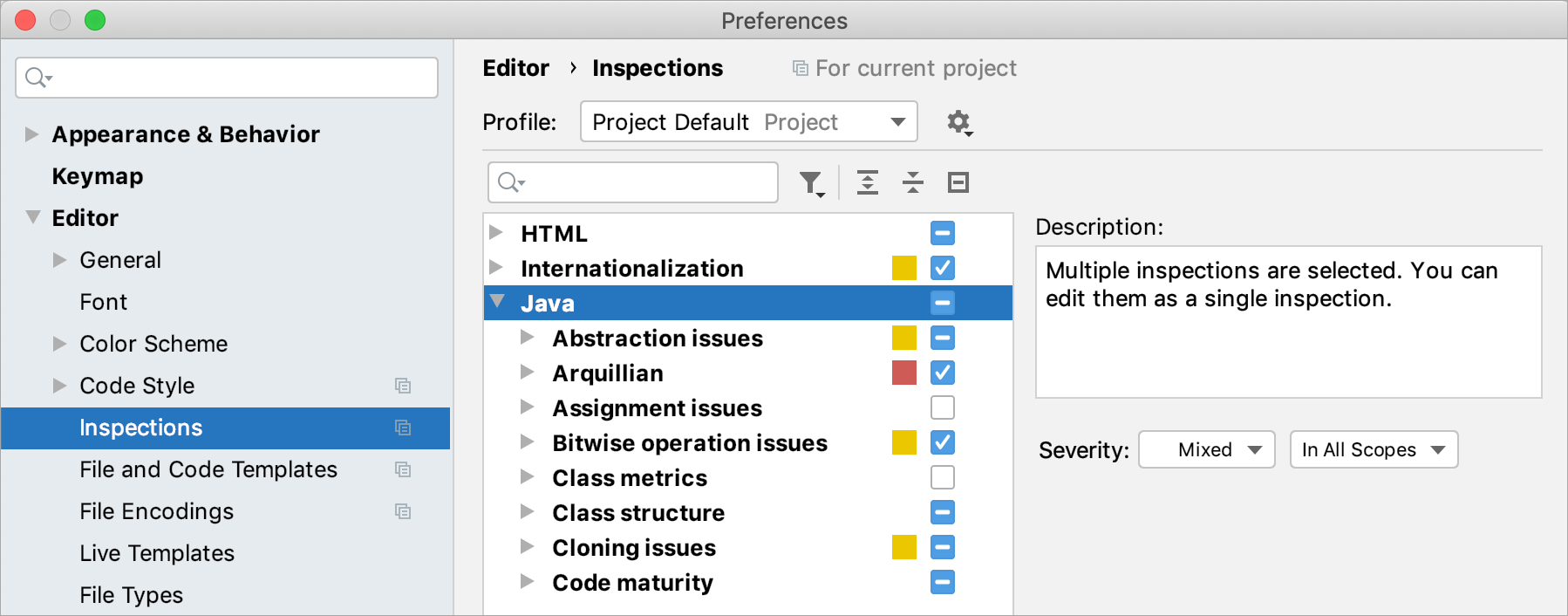 the Inspections dialog