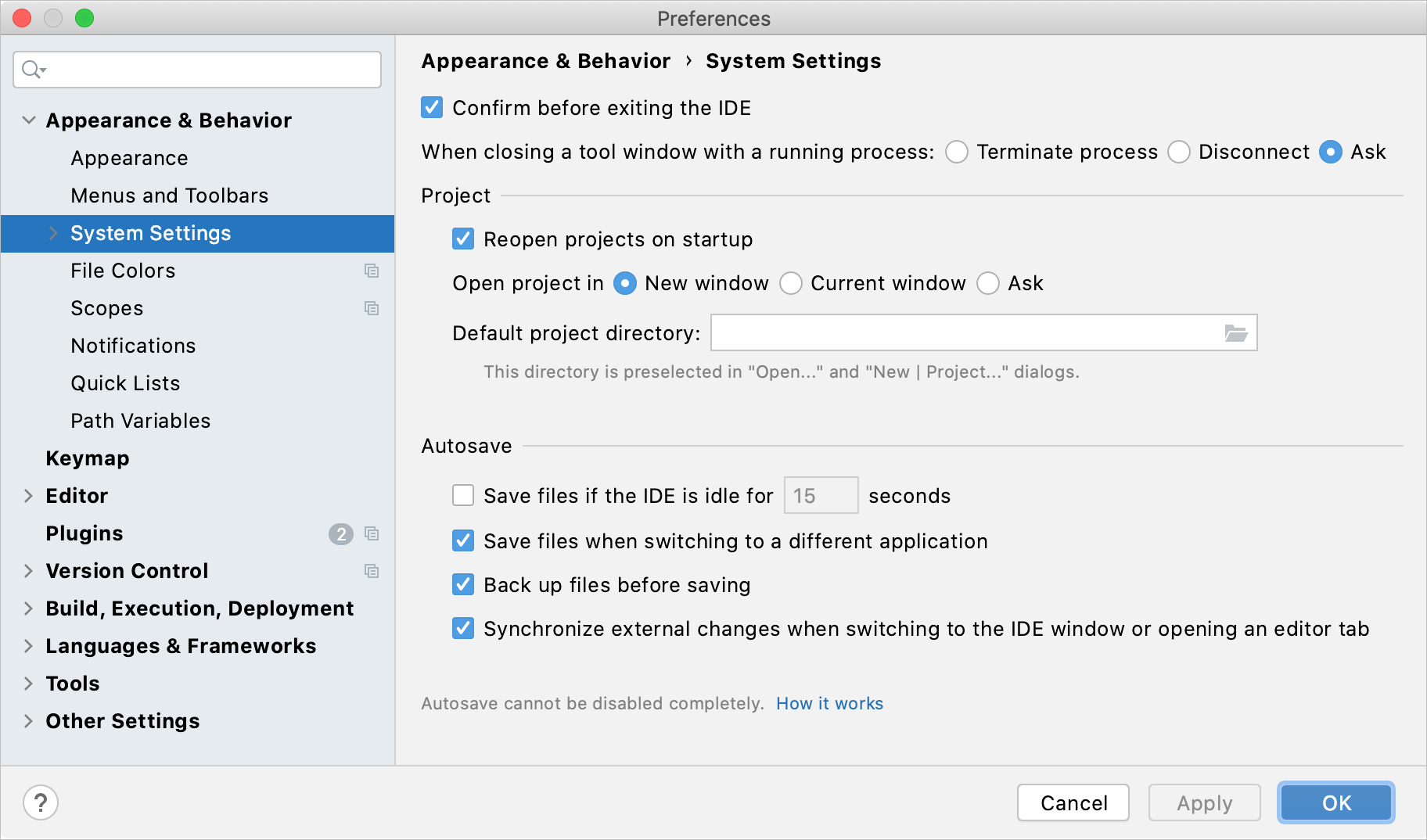 Configuring the system settings