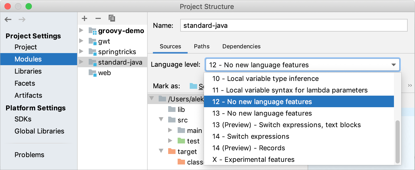 Specifying the module language level