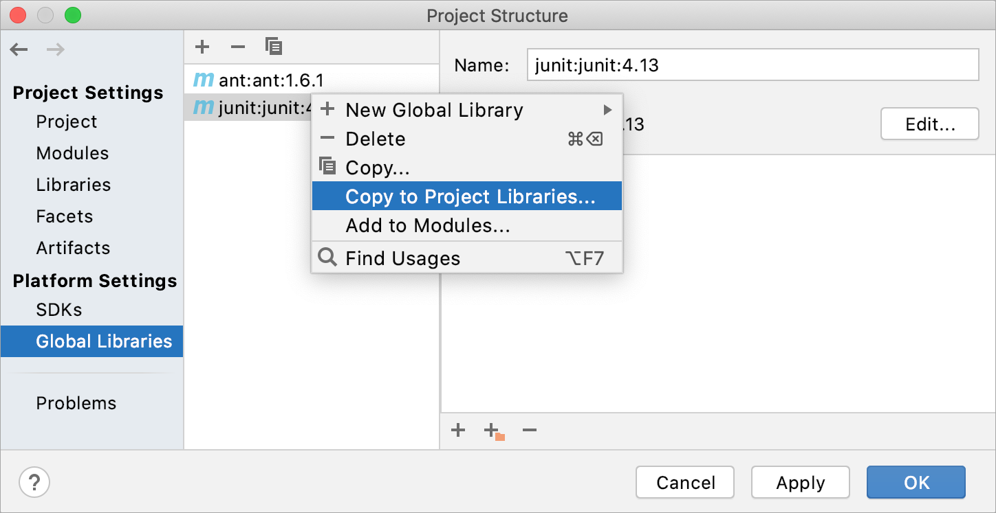 Copying a global library to a lower level